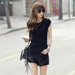 REDOPIN - Lace-Trim Short-Sleeve T-Shirt