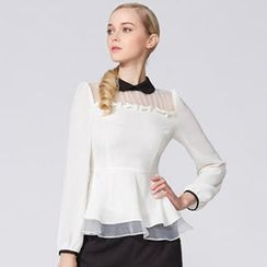 O.SA - Bow-Accent Peplum Blouse