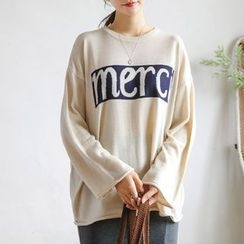 JUSTONE - Drop-Shoulder Lettering Knit Top