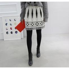 Miamasvin - Fringe-Hem Patterned Mini Skirt