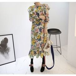 Miamasvin - Ruffled Flower Pattern Long Dress