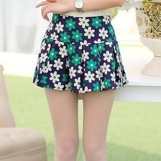 Sunny House - Flower-Print Pleated Skirt