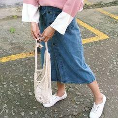 MISS YOYO - Buttoned Down Denim Midi Skirt