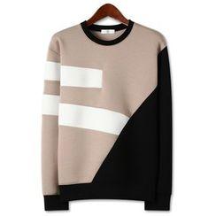 Seoul Homme - Contrast-Trim Neoprene Pullover