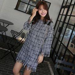 Seoul Fashion - Fringe-Edge Tweed Shift Dress