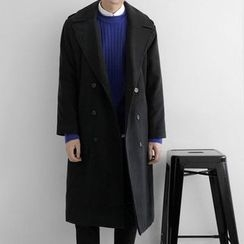 Seoul Homme - Wool-Blend Double-Breasted Long Coat