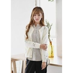 GOROKE - Round-Neck Flower-Embroidered Cardigan