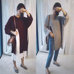 QZ Lady - Cable Knit Side Slit Long Sweater