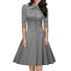 Forest Of Darama - Gingham 3/4-Sleeve A-line Dress