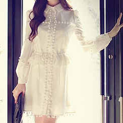 Dabuwawa - Long-Sleeve Paneled Plain Dress