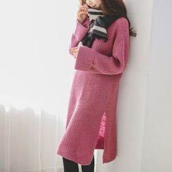 JUSTONE - Slit-Side Alpaca Blend Rib-Knit Dress