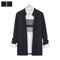 DANGOON - Mandarin-Collar Open-Front Cardigan