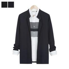 DANGOON - Mandarin-Collar Open-Front Cardigan