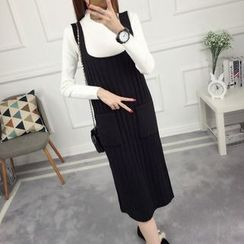 anzoveve - Knitted Midi Pinafore Dress