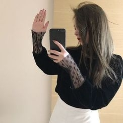 Alfie - Dot Mesh Mock-Two Turtleneck Velvet Long-Sleeve T-Shirt