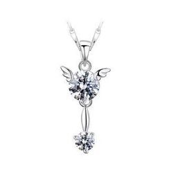 BELEC - 925 Sterling Silver Angel Pendant with White Cubic Zircon and Necklace - 45cm