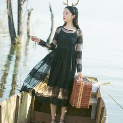 Sens Collection - Set: Lace Trim Long Sleeve Dress + Slipdress