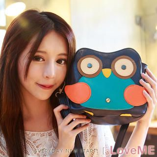 nine percent - Faux-Leather Owl-Detail Shoulder Bag