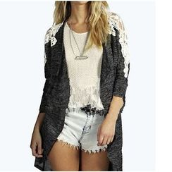 Everose - Lace-Shoulder Long Cardigan