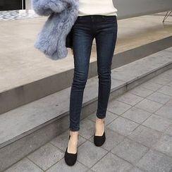 Seoul Fashion - Washed Brushed-Fleece Lined Skinny Jeans