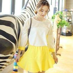 TANGYIZI - Set: Fleece Panel Top + Skirt