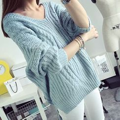 FR - V-Neck Batwing Sleeve Cable Knit Sweater