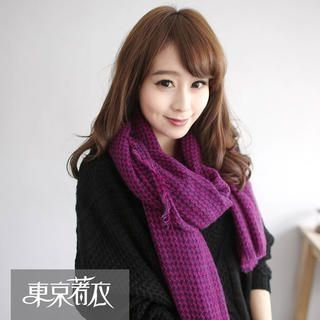 Tokyo Fashion - Fringed Houndstooth Knit Scarf