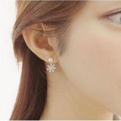 MOMENT OF LOVE - Rhinestone Flower Ear Jackets