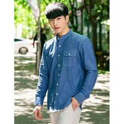STYLEMAN - Mandarin-Collar Denim Shirt