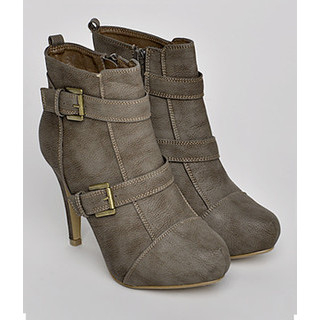 yeswalker - Almond-Toe Faux Leather Ankle Boots