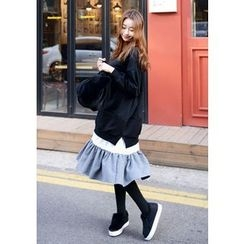 DEEPNY - Ruffle-Hem Layered Pullover Dress
