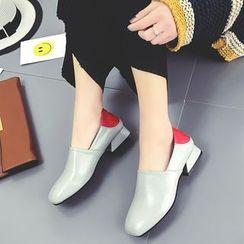QQ Trend - 双色高跟乐福鞋