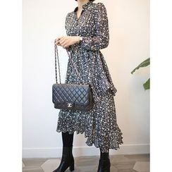 STYLEBYYAM - Floral Patterned Gathered-Waist Ruffle-Trim Layered Dress