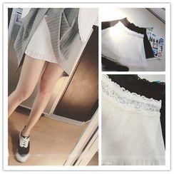 Whitney's Shop - Lace Trim Pleated Overlay Under Shorts