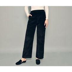 HOTPING - Band-Waist Corduroy Pants