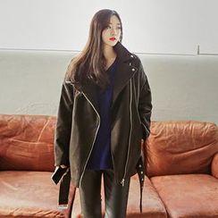 Seoul Fashion - Diagonal-Zip Belted Biker Jacket