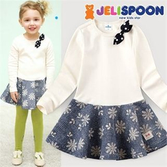 JELISPOON - Girls Beribboned Flower Pattern A-Line Dress
