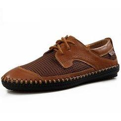 Van Camel - Mesh Panel Lace-Up Shoes