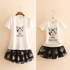 Seashells Kids - Kids Set: Cat Print T-Shirt + Skirt