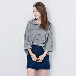 BORAN - 3/4-Sleeve Striped T-Shirt
