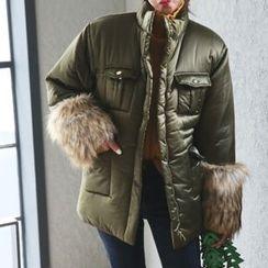 DABAGIRL - Faux-Fur Cuff Drawstring-Waist Puffer Jacket