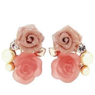 Viennois - Rhinestone & Faux Pearl Rose Earrings