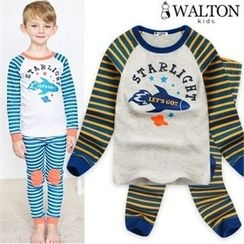 WALTON kids - Boys Pajama Set: Stripe Printed Top + Knee-Patch Pants