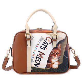 BeiBaoBao - Cat-Print Panel Boston Bag
