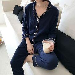 HALOLALA - Set: Piped Pajama Shirt + Bottoms