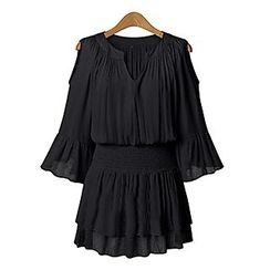 Chika - Cutout Shoulder Split-neck Dress