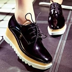 JY Shoes - Genuine Leather Wedge Oxfords