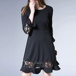 Isadora - Lace Trim 3/4 Sleeve Midi Dress