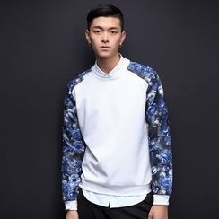 T for TOP - Long-Sleeve Printed Panel Top