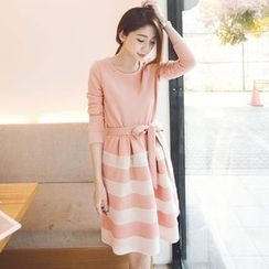 Tokyo Fashion - Long-Sleeve Tie-Waist Striped Dress
